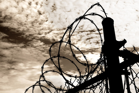 wire mesh: A barbed wire prison fence sillouted against a dark, amber moody sky.