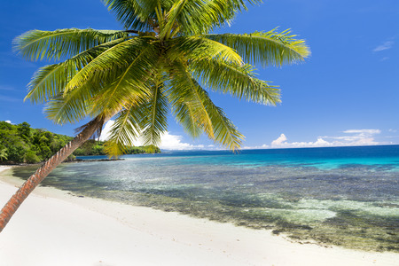 fiji: An island in Fiji with white sandy beach, turquoise water and a big, beautiful sky shows a getaway paradise for travelers Stock Photo