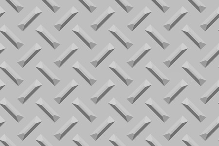 traction: Raster illustration of a metal surface with raised, rectangular crosshatched traction nubs. Stock Photo