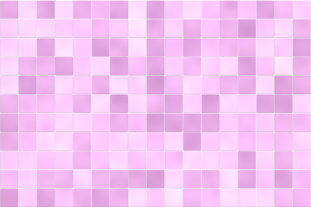 Raster illustration of square bathroom shower tiles in random shades of pink. For use as a holiday background or design element.