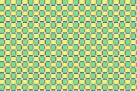Raster illustration of an Easter basket wicker weave with traditional green, yellow and pink Easter colors. For use as a background or design element. Zdjęcie Seryjne