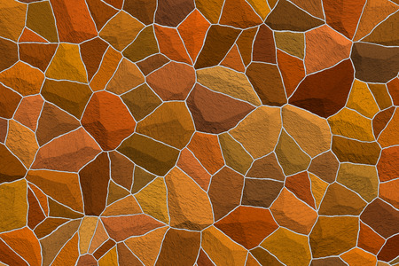 Raster illustration of an deep, rich amber color stone mosaic background illustration