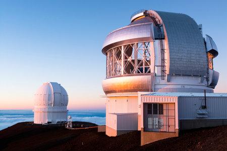hawaii sunset: Keck observatory on Mauna Kea, at 14,000 feet, on the big island of Hawaii during sunset. Editorial