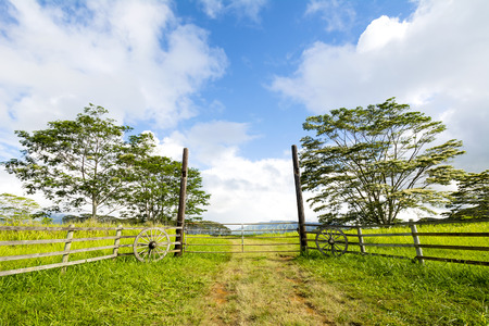 Front entrance gates to a countryside ranch in Kauai Hawaii are adorned with old wagon wheels to provide a western motif. Imagens - 43230136