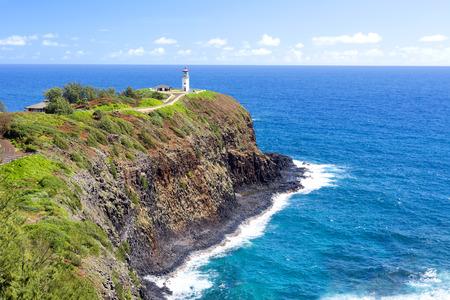 kilauea: A beautiful view of the Daniel Inouye Kilauea Point lighthouse on the Hawaiian island of KauaiL
