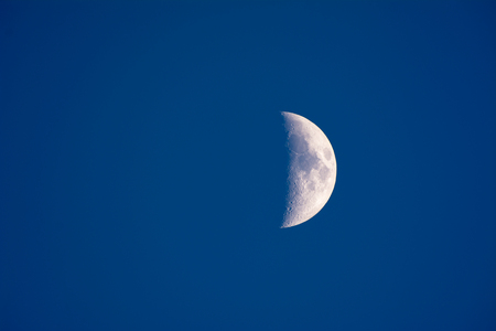 atmosphere: The moon shot just before dark shows a partial planet and blue atmosphere. Stock Photo