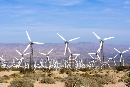 windmills: Renewable energy windmills line the mountaintops of Palm Springs