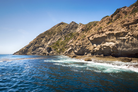 Shore line of Californias Channel Island, Santa Rosa, during a bright sunny day