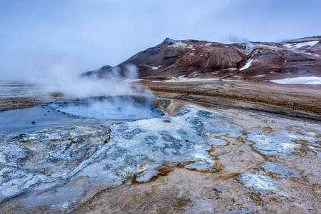 pressurized:   Natural steam rising from volcanic vents in the earth at Hverir in Iceland near Myvatn Lake