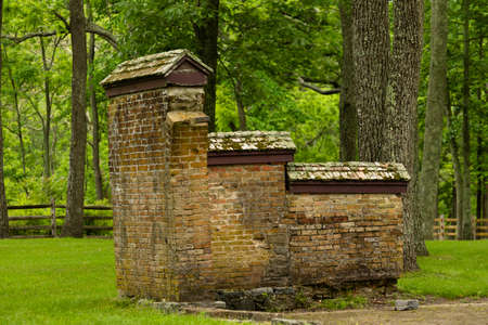 undisturbed: Remnants of a wall from a historic building in Allaire State park Stock Photo