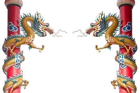 Dragon statue on pillars by isolate on white background  Standard-Bild