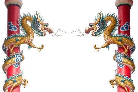 colonnade: Dragon statue on pillars by isolate on white background  Stock Photo