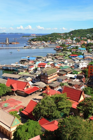 Aerial view of village on Koh Si Chang  (Si Chang island), Thailand.