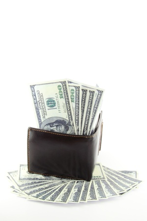 Pocket Money 1,The many dollars banknote in brown leather purse and on floor with isolated on white background. Stock Photo - 10837143