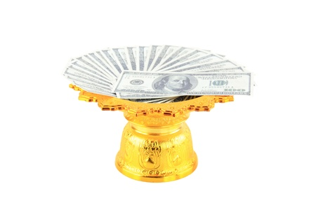 the dollars banknote on a tray with pedestal photo