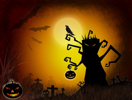 Halloween dark scenery with naked tree, pumpkins, bat ,crow and old graveyard. photo