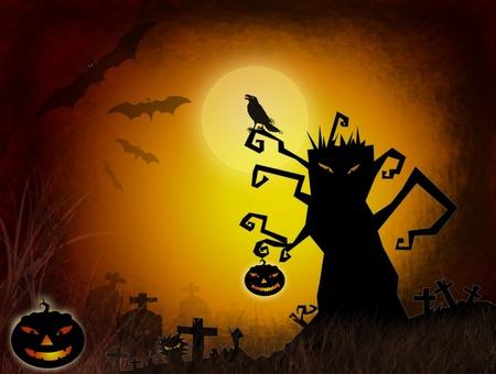 Halloween dark scenery with naked tree, pumpkins, bat ,crow and old graveyard. photo