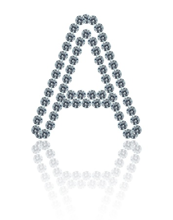 The alphabet A made from many the white diamond. photo