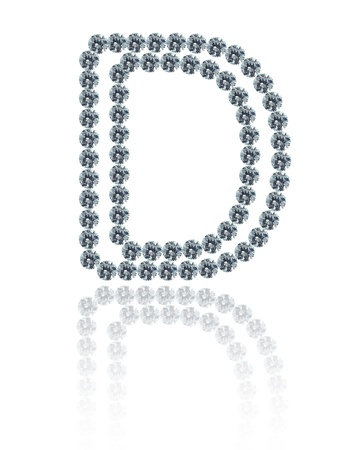 The alphabet D made from many the white diamond. photo