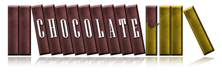 Illustration of chocolate bars with word CHOCOLATE,  wrapping it by gold paper. Isolate on white background. illustration