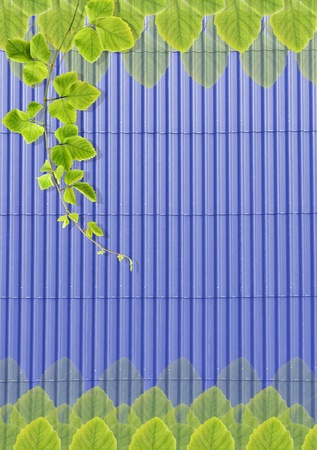 rooftile: Green leafs texture on blue roof-tile background.