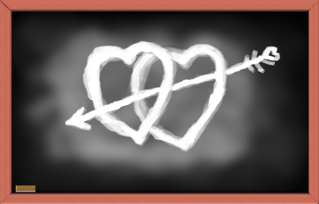 Illustration of Hearts with arrow on black board. Happy Valentines Day concept. illustration
