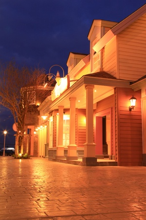night restaurant and hotel with warm light. photo