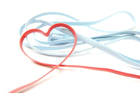 network connection plug: Red Heart Shaped Network Cable on white background
