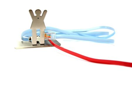 Network cable plug-in to a model on white background photo