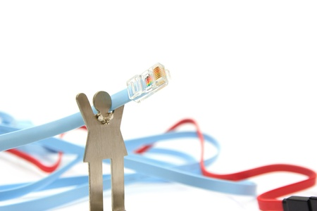 Model carrying a network cable[RJ45] on white background Stock Photo - 12851935