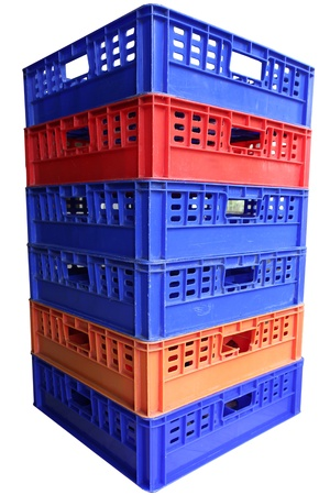 Stack of plastic crates, Isolated on white background Stock fotó