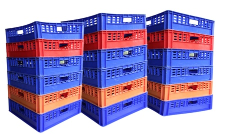 Three stack of plastic crates, Isolated on white background