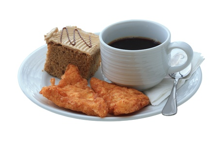 Cup of coffee and cake, Isolate on white background with clipping paths ready to use. photo