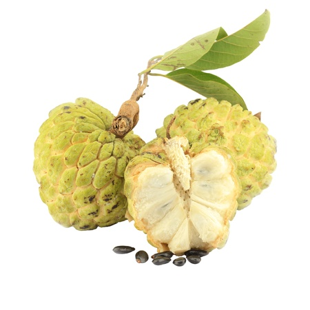 annona: Sugar apple [Annona squamosa] with cross section, showing a lobe of fruit and pulpy segments with seeds.