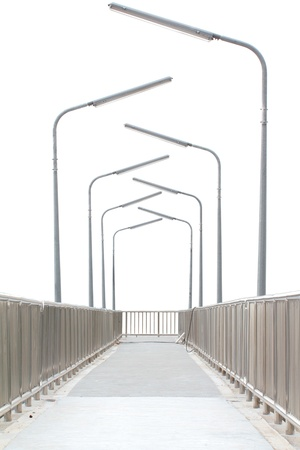 handrail: Overpass with electric poles on white background