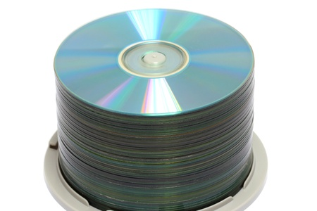 rom: DVD Stack,isolated on white background. Stock Photo
