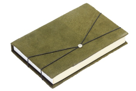 Notebook with green velvet cover,Isolated with clipping paths ready to use.