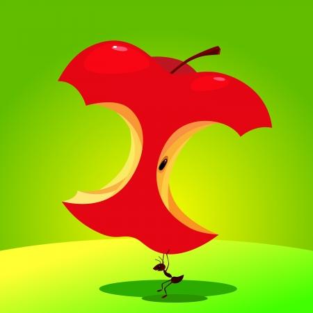 Illustration of a good healthy ant lift an apple  Healthcare concept  Reklamní fotografie