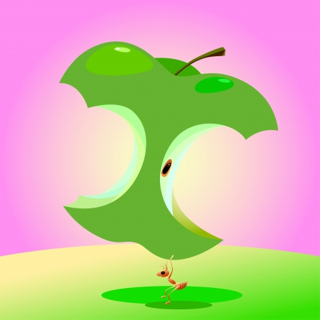 Illustration of a good healthy ant lift an green apple. Healthcare concept.