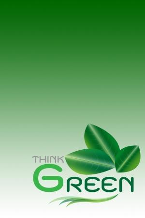 Concepto verde, piensa el fondo verde