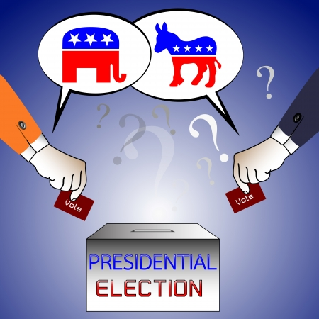 man prepare putting ballot in a box during presidential elections in America in front of parties logo and question mark background.