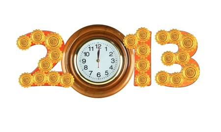 Mixed object for numbers 2013 with the golden plate and wall clock wood style Stock Photo - 16005103