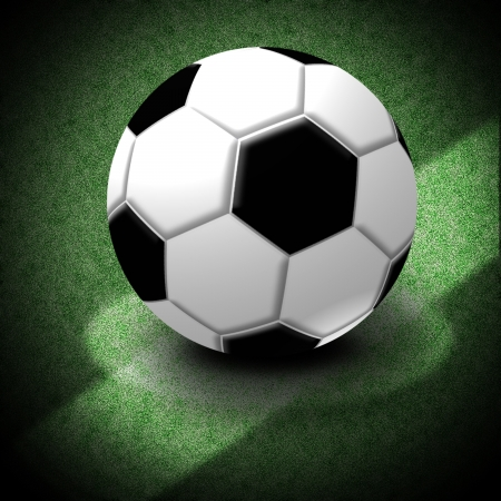 Soccer Ball, Illustration of a soccer ball lying on the center of the game field  with Clipping paths   illustration