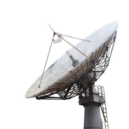 wireless tower: Satellite dish , Isolated on white Stock Photo