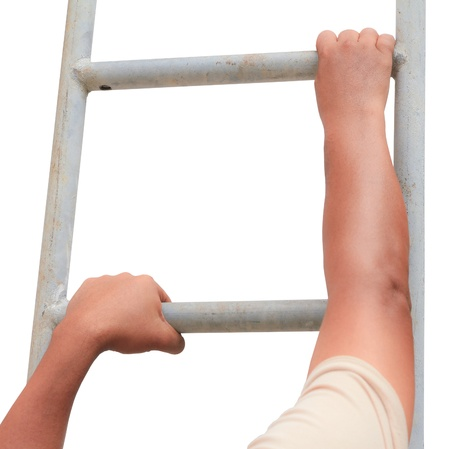 climbing ladder: Closeup of unrecognizable man climbing ladder , Isolated on white