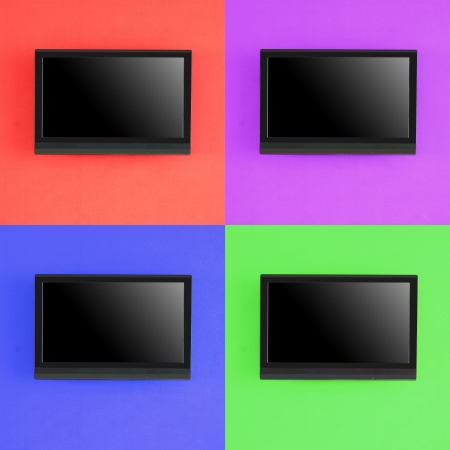 Set of modern LED screen on color RED,BLUE,PURPLE,GREEN  wall,Isolated photo