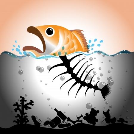 Illustrazione di pesce e ossa di pesce in in acque inquinate, concetto di inquinamento delle acque