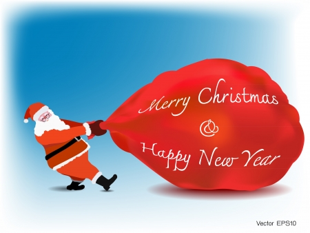 Santa Claus drag big gift red bag with word Merry Christmas and Happy new year, blue sky background
