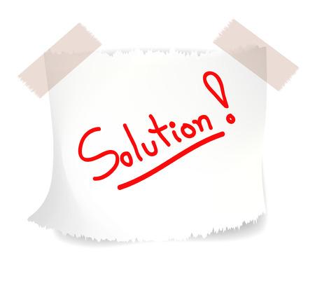 Red wording Solutions on torn white note paper. Vector illustration.  Illusztráció