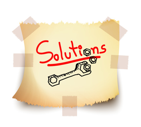 Red wording Solutions ,spanner and nuts on torn white note paper, Vector  Illusztráció